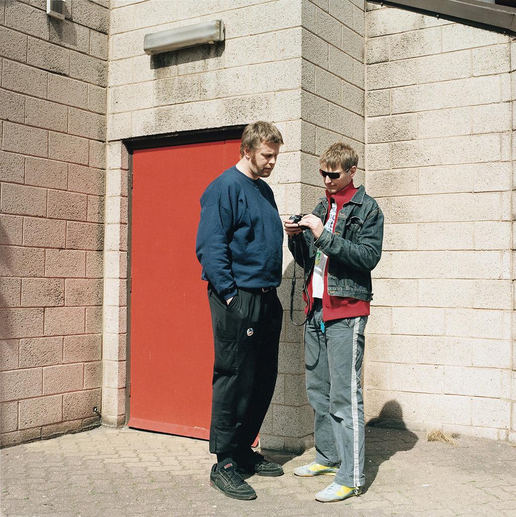 Rene Schmidt with Ole Krabbe-Poulsen, artists, Captain Cook Square, Middlesbrough (GB), 05/05